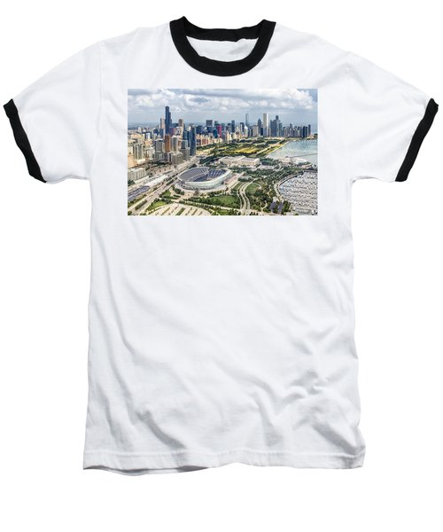 Soldier Field And Chicago Skyline Baseball T-Shirt by Adam Romanowicz
