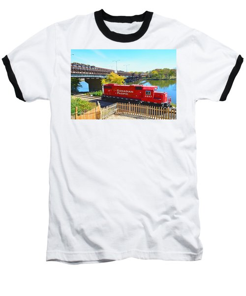 Solo Red Canadian Pacific Engine Along Rock River In Rockford Baseball T-Shirt