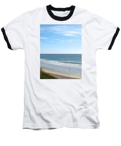Solo Walk On Southern California Beach Baseball T-Shirt by Connie Fox
