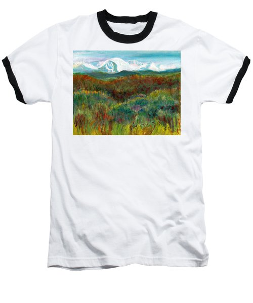 Baseball T-Shirt featuring the painting Spanish Peaks Evening by C Sitton