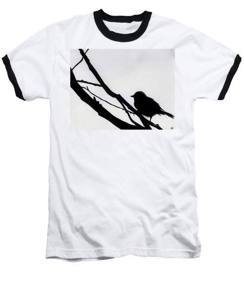 Baseball T-Shirt featuring the drawing Sparrow In A Gray Sky by D Hackett