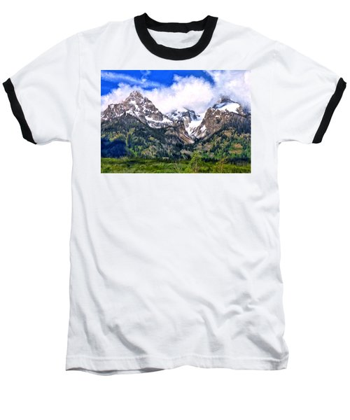 Baseball T-Shirt featuring the painting Spring In The Grand Tetons by Michael Pickett
