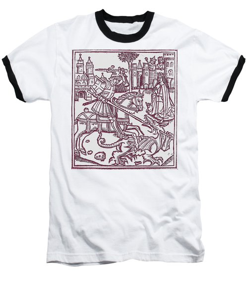 St. George - Woodcut Baseball T-Shirt