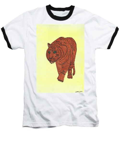 Stalking Tiger Baseball T-Shirt by Tracey Williams