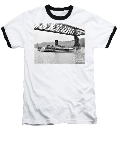 Steamer Albany Under Poughkeepsie Trestle Black And White Baseball T-Shirt