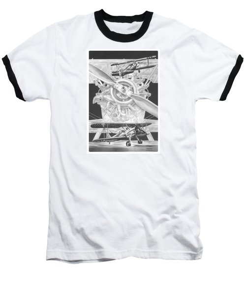 Stearman - Vintage Biplane Aviation Art Baseball T-Shirt