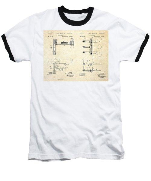 1885 Steinway Piano Pedal Patent Art Baseball T-Shirt by Gary Bodnar