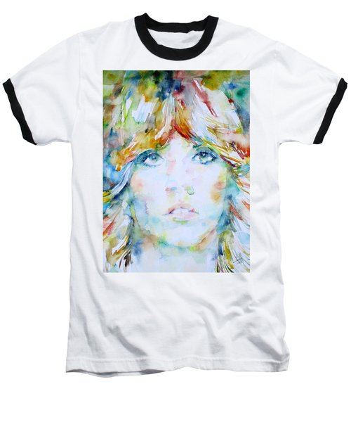 Stevie Nicks - Watercolor Portrait Baseball T-Shirt by Fabrizio Cassetta
