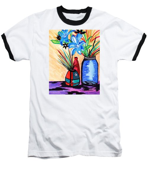 Baseball T-Shirt featuring the painting Still Life Flowers by Connie Valasco