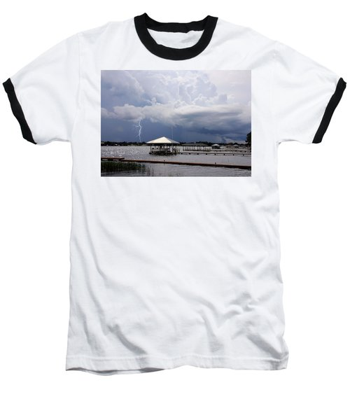 Storm Over Clay Lake Baseball T-Shirt by Rosalie Scanlon