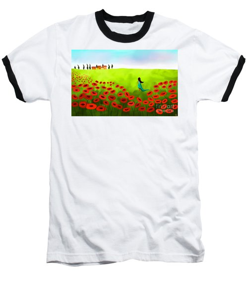 Strolling Among The Red Poppies Baseball T-Shirt by Anita Lewis