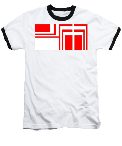 Study In White And Red Baseball T-Shirt by Cletis Stump