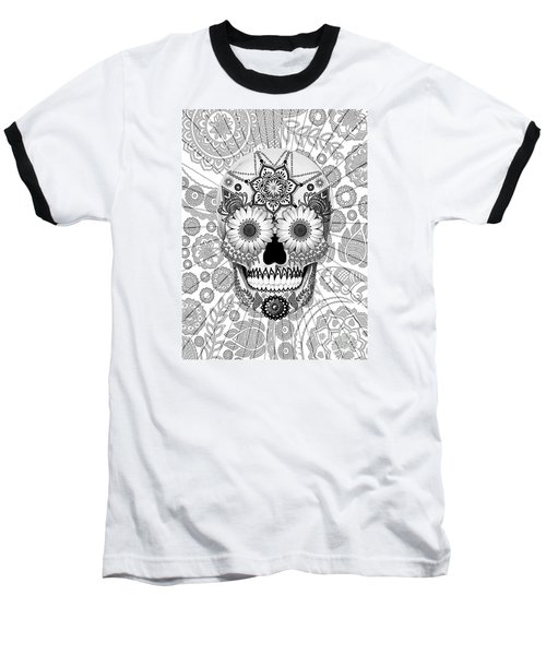 Sugar Skull Bleached Bones - Copyrighted Baseball T-Shirt by Christopher Beikmann