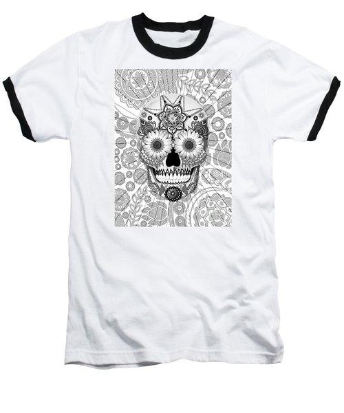 Sugar Skull Bleached Bones - Copyrighted Baseball T-Shirt