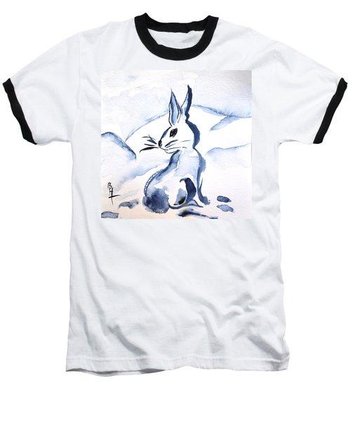 Sumi-e Snow Bunny Baseball T-Shirt