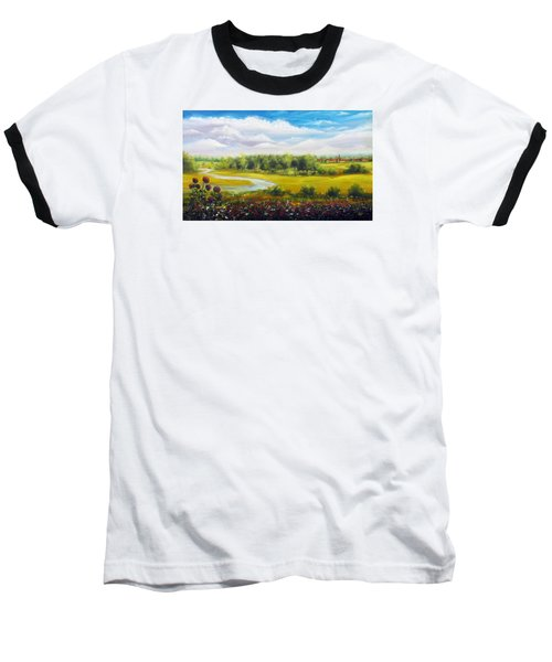 Baseball T-Shirt featuring the painting Summer Day by Vesna Martinjak