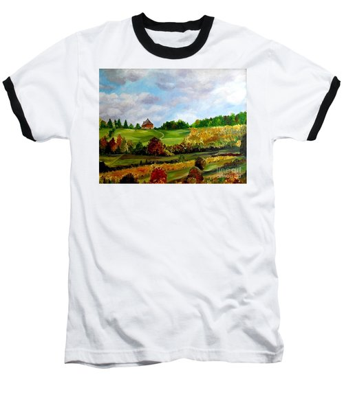 Baseball T-Shirt featuring the painting Summer's End by Julie Brugh Riffey