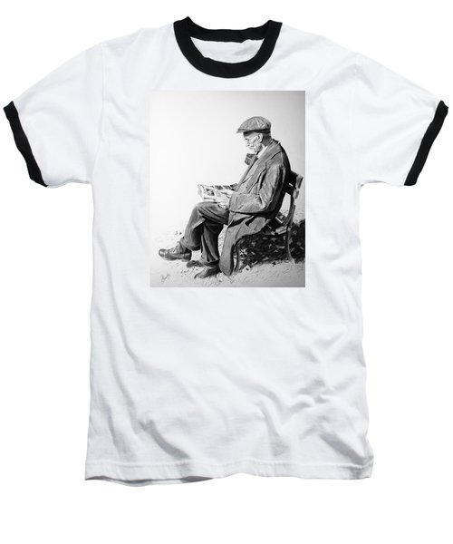 Baseball T-Shirt featuring the painting Sunday Edition by Glenn Beasley