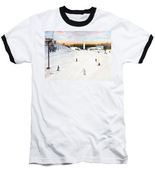 Baseball T-Shirt featuring the painting Sundial Lodge At Nemacolin Woodlands Resort by Albert Puskaric