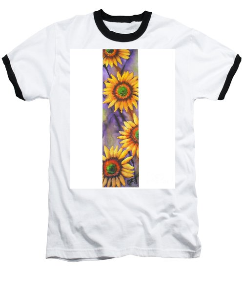 Baseball T-Shirt featuring the painting Sunflower Abstract  by Chrisann Ellis