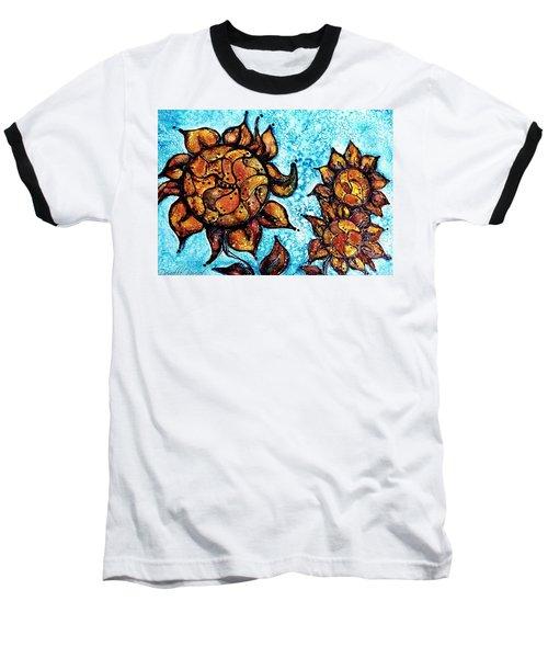 Sunflower Patchwork Delight Alcohol Inks Baseball T-Shirt