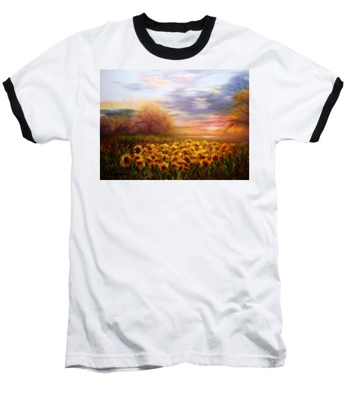 Sunflower Sunset Baseball T-Shirt by Patti Gordon
