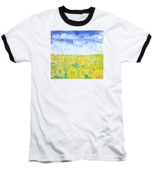 Sunflowers In A Field In  Texas Baseball T-Shirt
