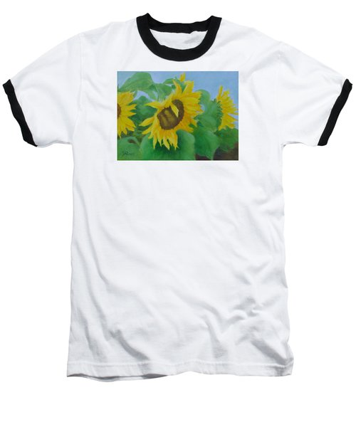 Sunflowers In The Wind Colorful Original Sunflower Art Oil Painting Artist K Joann Russell           Baseball T-Shirt by Elizabeth Sawyer