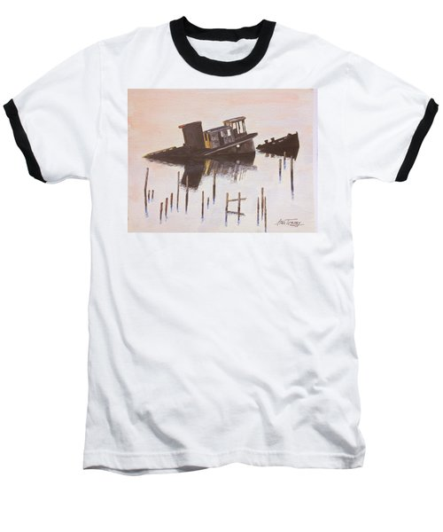 Baseball T-Shirt featuring the painting Sunken Boat by Stan Tenney
