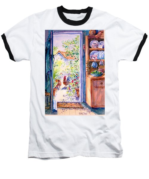 Sunlit Cottage Doorway  Baseball T-Shirt by Trudi Doyle