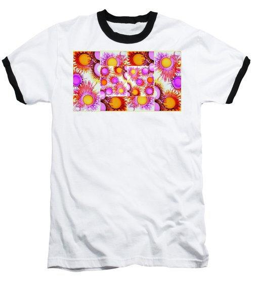 Sunny Happy Abstract Alcohol Inks Collage Baseball T-Shirt