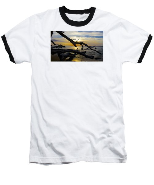 Driftwood At Sunset On Beach '69 Baseball T-Shirt by Venetia Featherstone-Witty