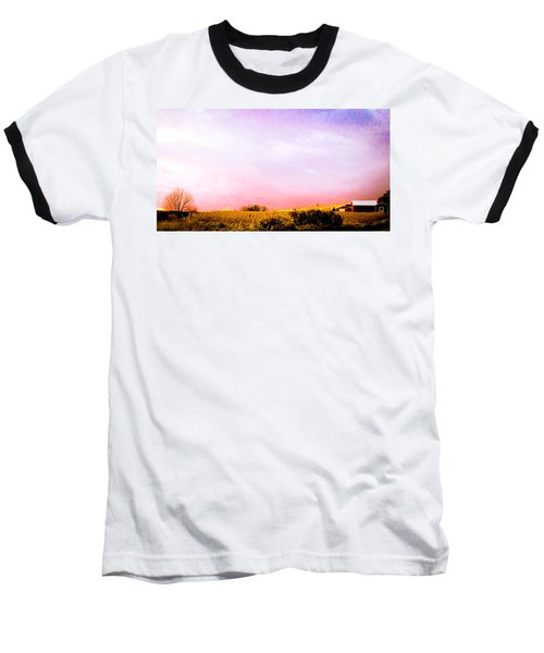 Baseball T-Shirt featuring the photograph Sunset At The Farm by Sara Frank