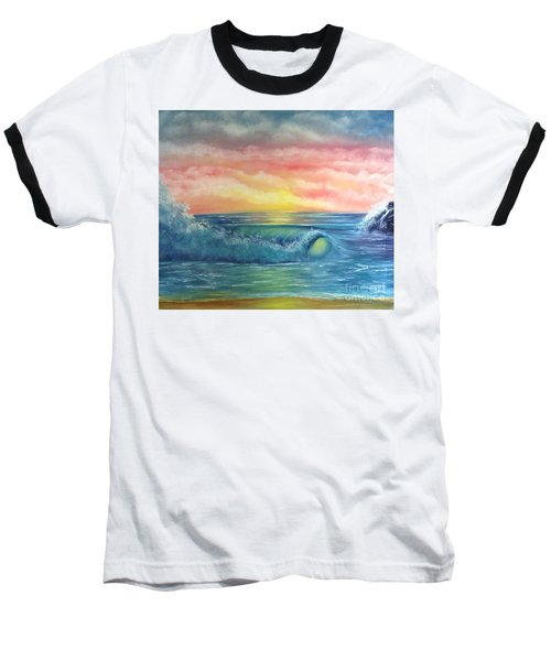 Sunset At The Seashore  Baseball T-Shirt by Becky Lupe