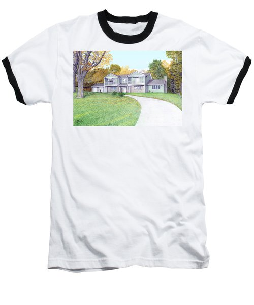 Baseball T-Shirt featuring the painting Sunset House In Fall by Albert Puskaric