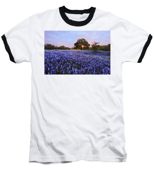 Sunset In Bluebonnet Field Baseball T-Shirt
