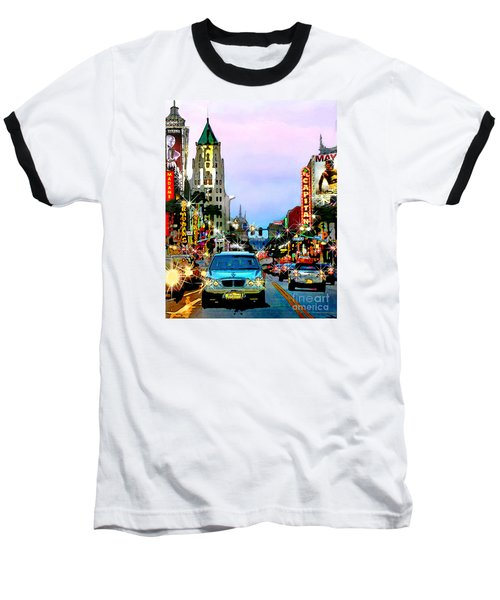 Baseball T-Shirt featuring the digital art Sunset On Hollywood Blvd by Jennie Breeze
