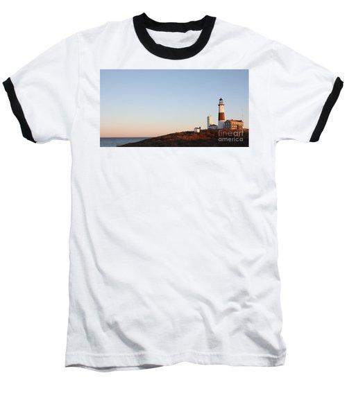 Sunset Over Montauk Lighthouse Baseball T-Shirt by John Telfer