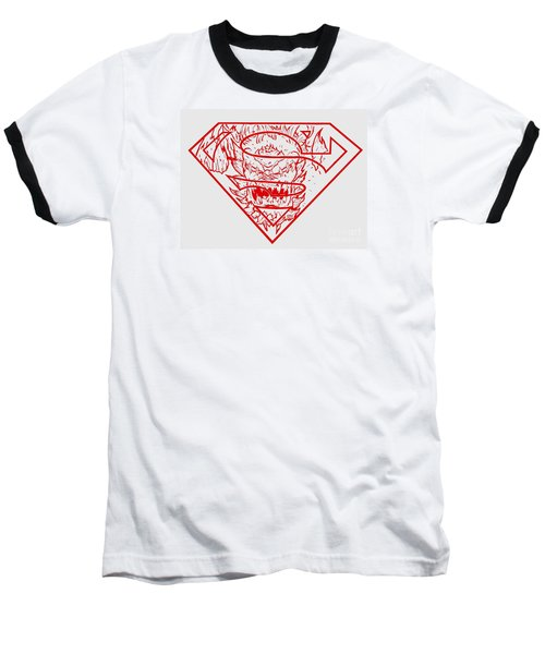 Superman And Doomsday Red Baseball T-Shirt by Justin Moore