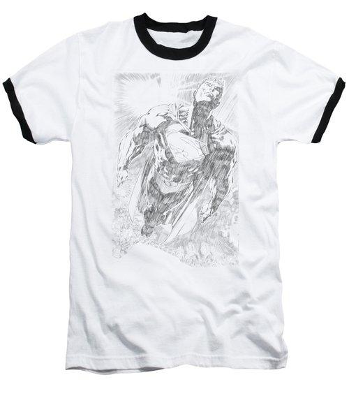 Superman - Exploding Space Sketch Baseball T-Shirt