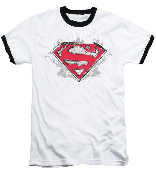 Superman - Hastily Drawn Shield Baseball T-Shirt
