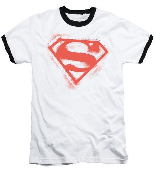 Superman - Spray Paint Shield Baseball T-Shirt