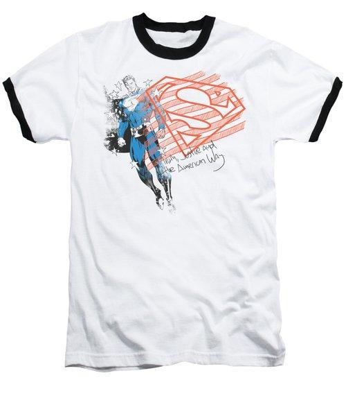 Superman - Super American Flag Baseball T-Shirt