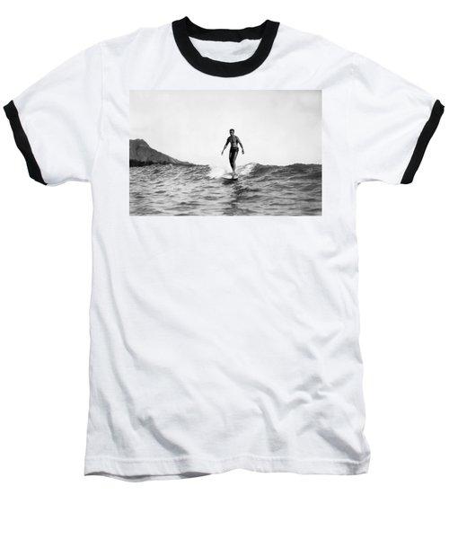 Surfing At Waikiki Beach Baseball T-Shirt