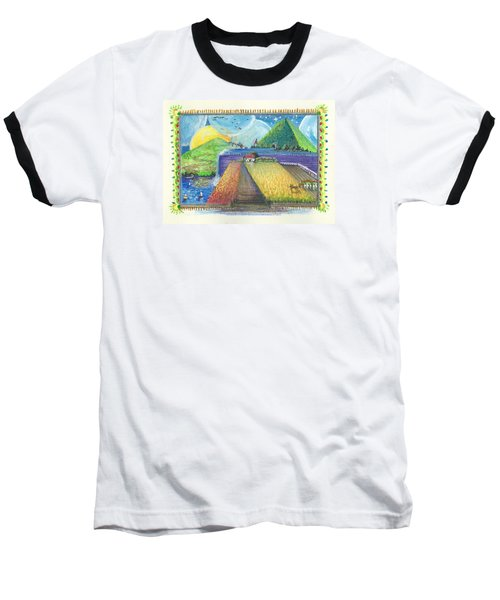 Baseball T-Shirt featuring the painting Surreal Landscape 1 by Christina Verdgeline