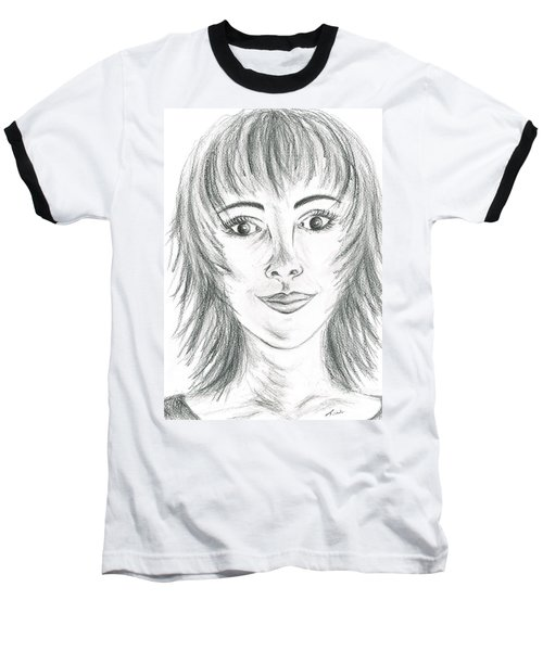 Baseball T-Shirt featuring the drawing Portrait Stunning by Teresa White