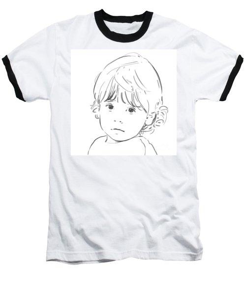 Baseball T-Shirt featuring the drawing Sweet Girl by Olimpia - Hinamatsuri Barbu