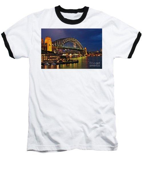 Sydney Harbour Bridge By Night Baseball T-Shirt