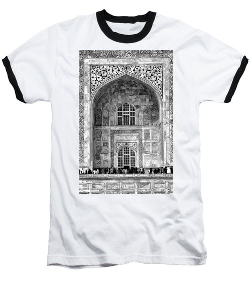 Taj Mahal Close Up In Black And White Baseball T-Shirt by Amanda Stadther