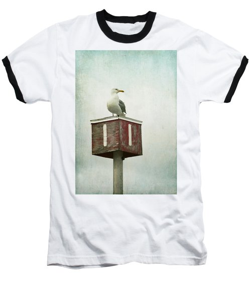 Baseball T-Shirt featuring the photograph Gull With Blue And Red by Brooke T Ryan